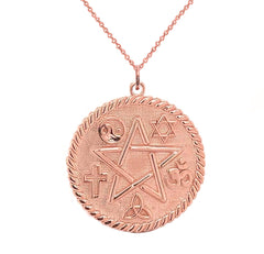 Pentagram Round Pendant/Necklace in Solid Gold