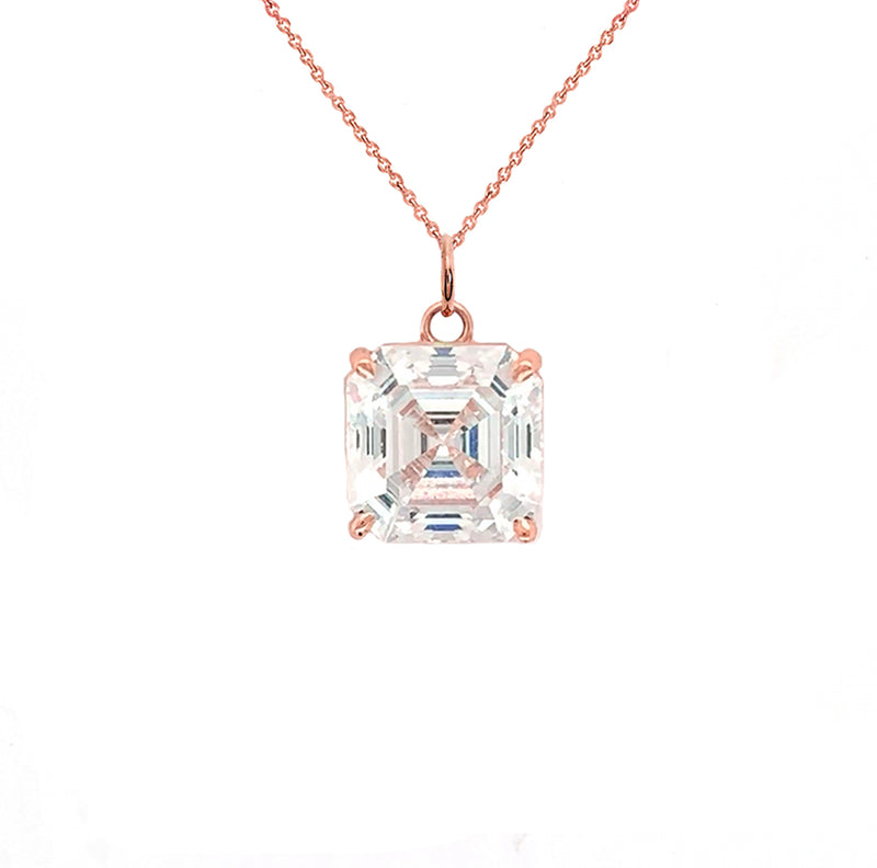 Asscher-cut 4 mm CZ Stone Statement Pendant Necklace in Solid Gold