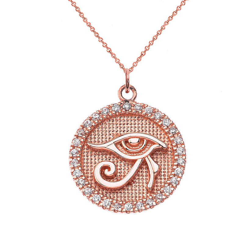 Solid 10k Gold Eye of Horus Disc Pendant Necklace
