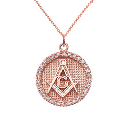 Solid 10k Gold Freemason/Masonic Symbol Disc Pendant Necklace