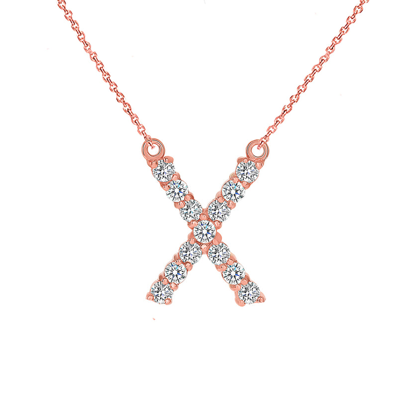 "Initial ""X"" CZ Letter Necklace in Solid Gold"
