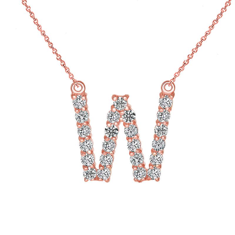 "Initial ""W"" CZ Letter Necklace in Solid Gold"