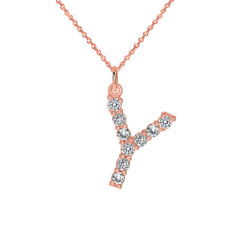"Initial ""Y"" Diamond Pendant/Necklace in Solid Gold"