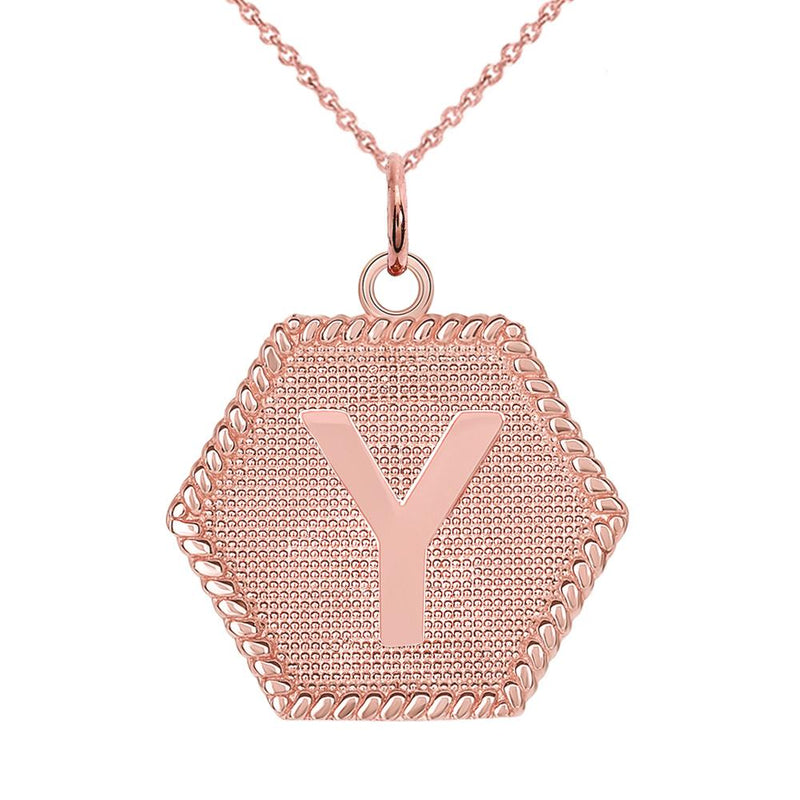 "Initial ""Y "" Gold Medallion Pendant Necklace"
