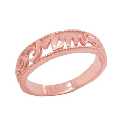 Filigree Diamond 'MOM' Ring in Solid Gold