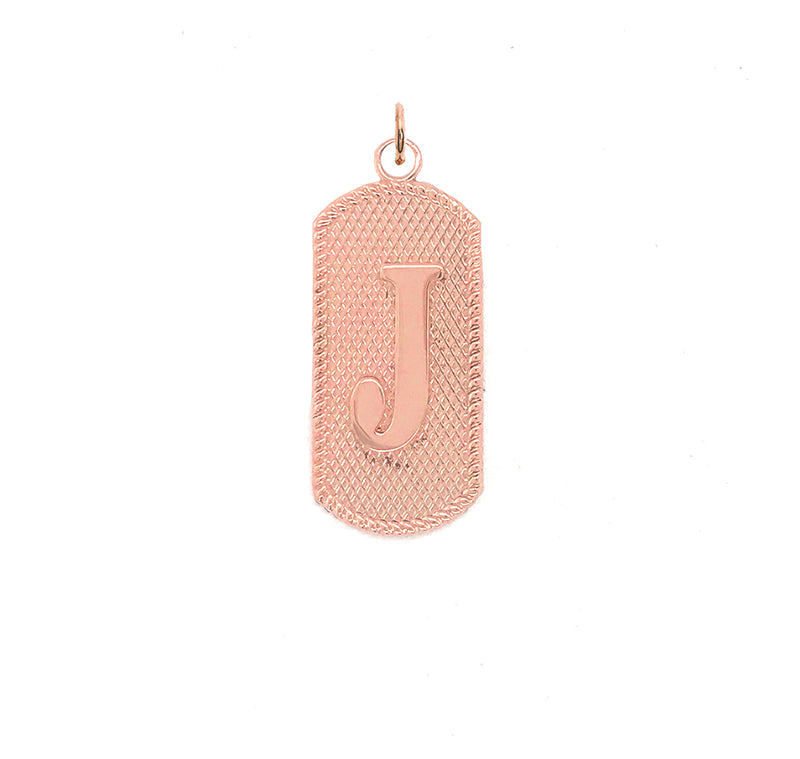 "Solid Letter ""J"" Dog Tag Pendant Necklace in Gold"