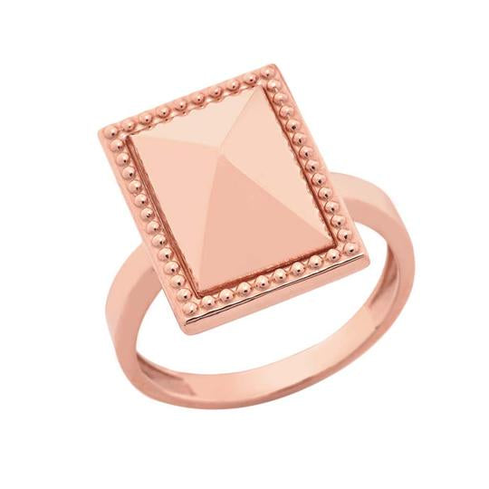 Milgrain Rectangle Shaped Statement Ring In Solid Rose Gold