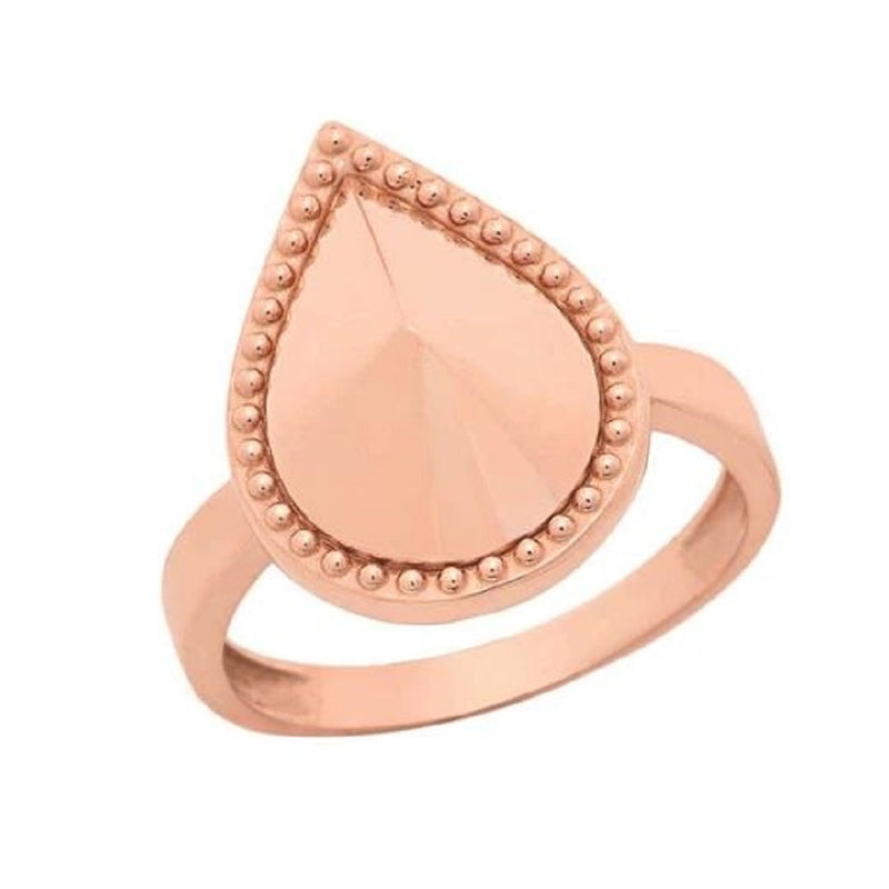 Milgrain Pear Shaped Statement Ring In Solid Rose Gold