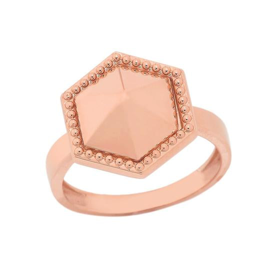 Milgrain Honeycomb Shaped Statement Ring In Solid Rose Gold
