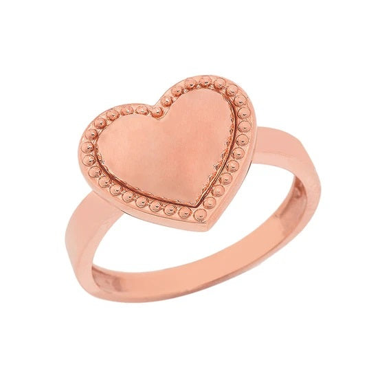 Milgrain Heart Shaped Statement Ring In Solid Rose Gold