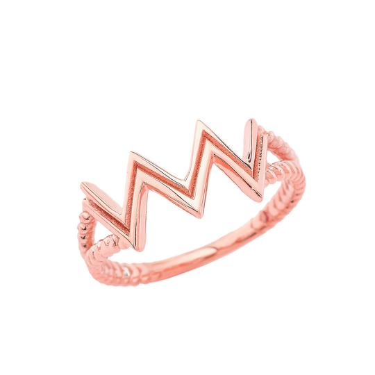 Aquarius Zodiac Rope Ring in Solid Rose Gold