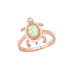 Opal Turtle Ring in Solid Rose Gold