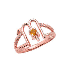 Zodiac - Scorpio Rope Ring with Citrine Gemstone in Rose Gold