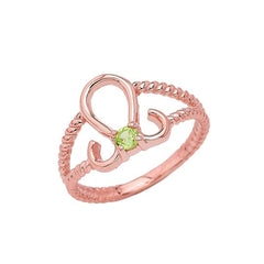 Genuine Peridot Leo Zodiac Rope Ring In Solid Rose Gold