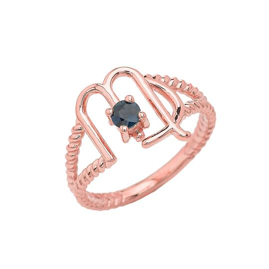 Virgo Zodiac & Sapphire Gemstone Rope Ring in Solid Rose Gold