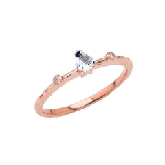 Dainty Pear Shape Aquamarine & Diamonds Stackable Ring In Solid Rose Gold