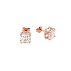 Solitaire Asscher-Cut CZ Stud Earrings in Solid Gold (Medium Size)