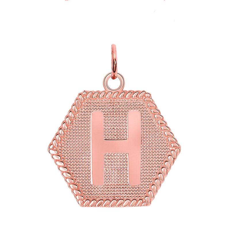 "Initial ""H"" Gold Medallion Pendant Necklace"