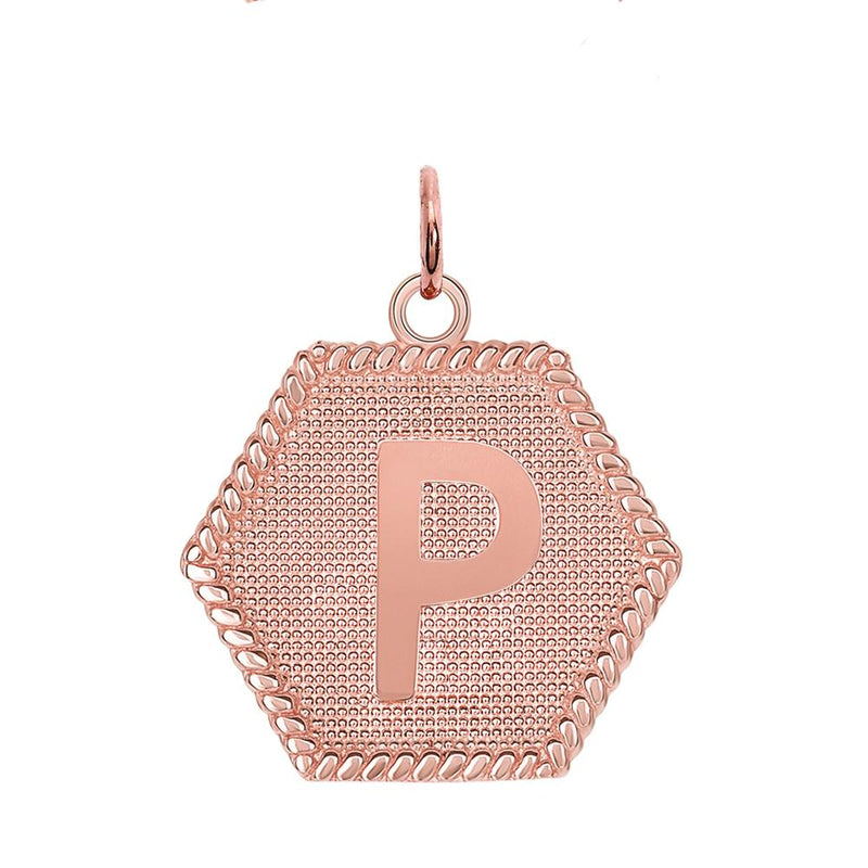 "Initial ""P"" Gold Medallion Pendant Necklace"