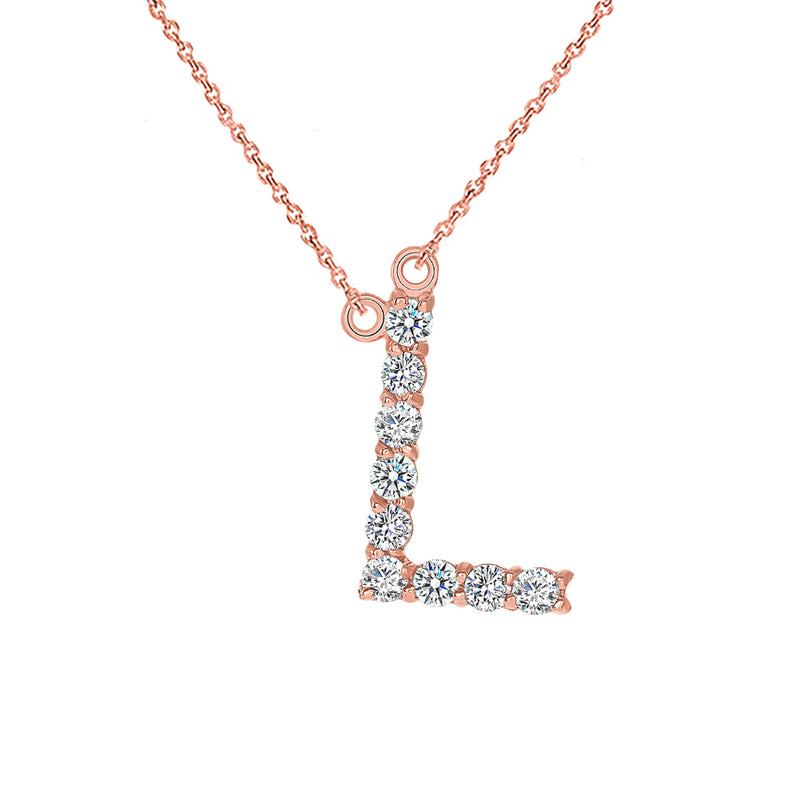 "Initial ""L"" Diamond Letter Necklace in Solid Gold"