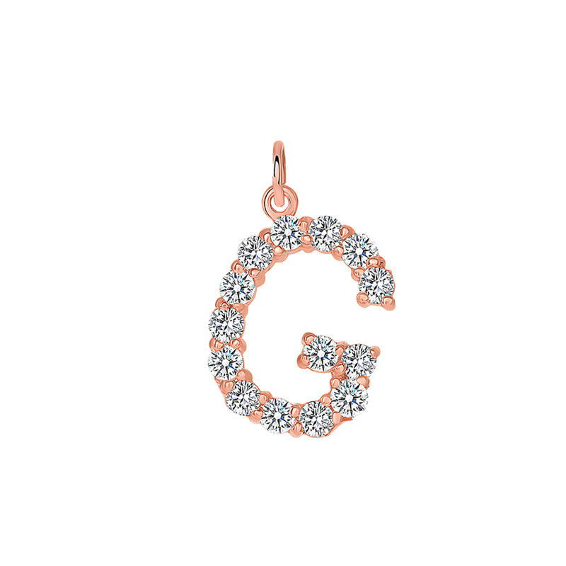 "Initial ""G"" CZ Letter Pendant/Necklace In Solid Gold"