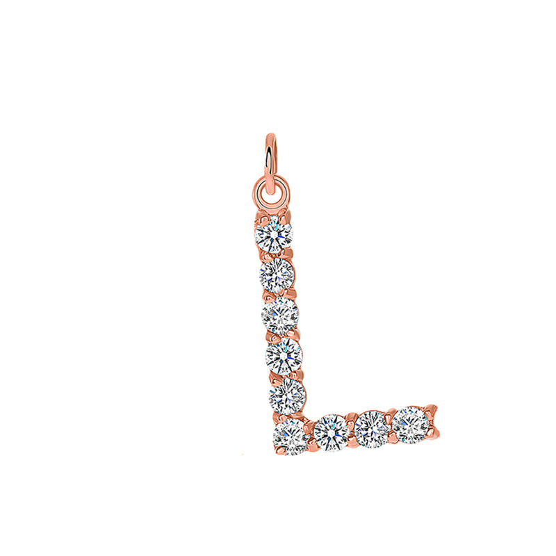 "Initial ""L"" CZ Letter Pendant/Necklace in Solid Gold"