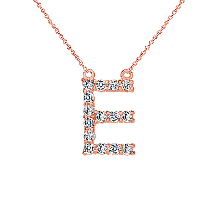 "Initial ""E"" Diamond Letter Necklace in Solid Gold"