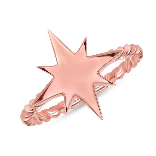 North Star Statement Rope Ring In Solid Rose Gold