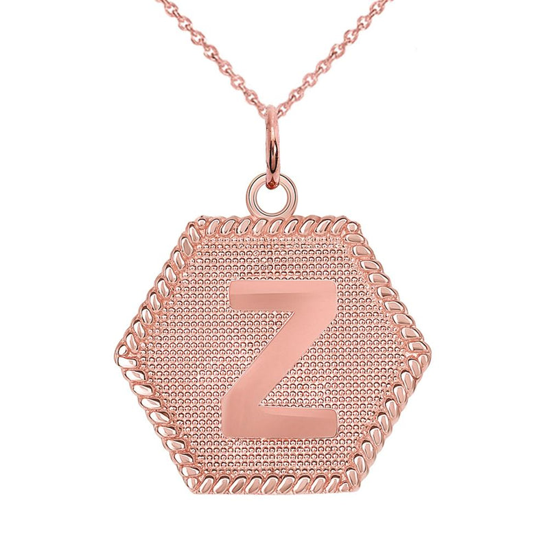 "Initial ""Z "" Gold Medallion Pendant Necklace"