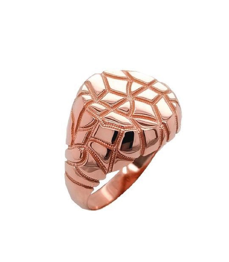 Modern Mens Nugget Ring In Solid Rose Gold