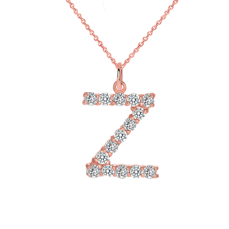 "Initial ""Z"" CZ Letter Pendant/Necklace in Solid Gold"
