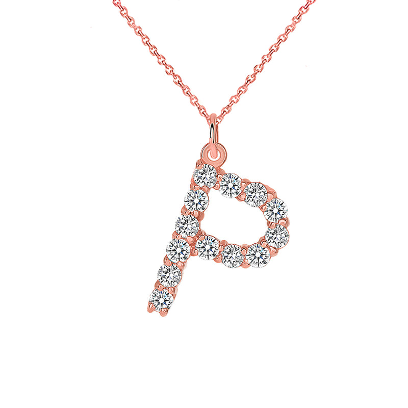 "Initial ""P"" Diamond Letter Pendant/Necklace in Solid Gold"
