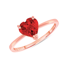 Heart Shape Solitaire Lab Created Ruby Gemstone Birthstone Ring in Rose Gold