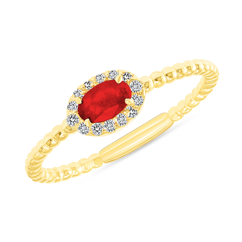 Diamond and Genuine Ruby Gemstone Birthstone Ring in Yellow Gold