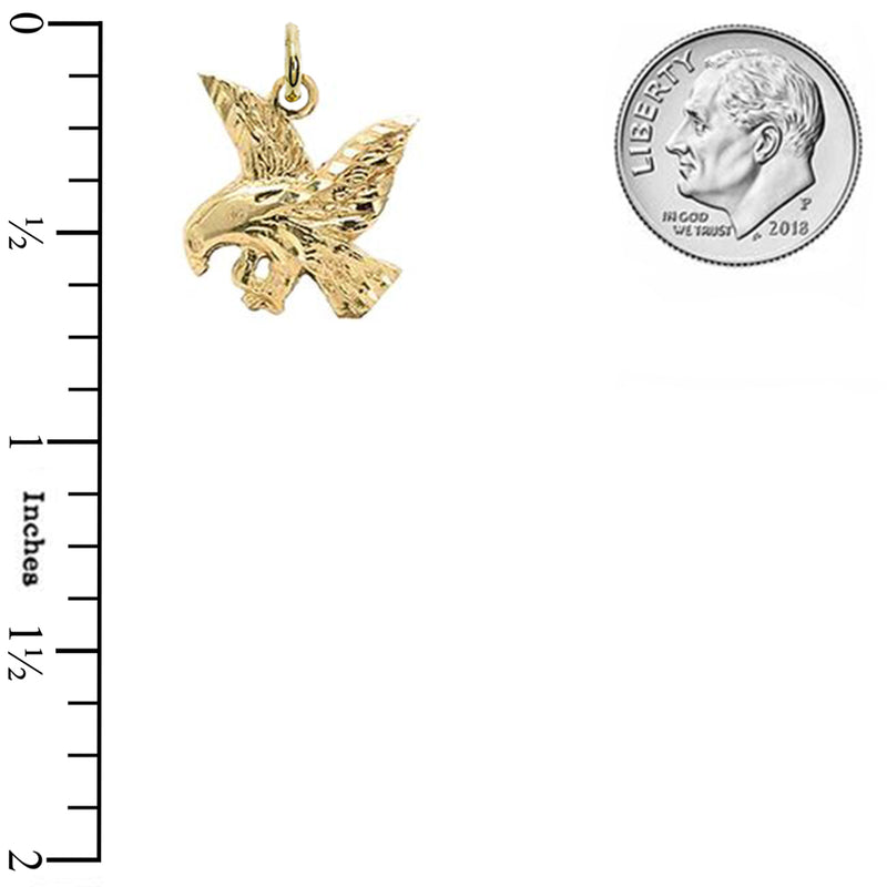 Solid Gold 3D Full Body Eagle Pendant Necklace