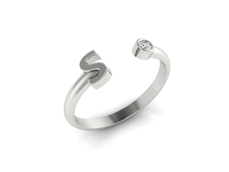 Dainty Diamond Initial 'S' Ring in White Gold