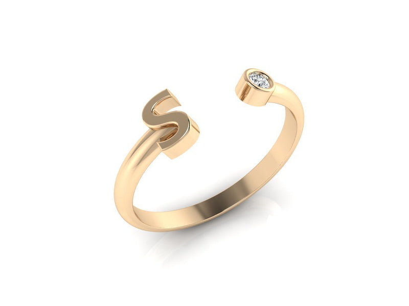 Dainty Diamond Initial 'S' Ring in Yellow Gold
