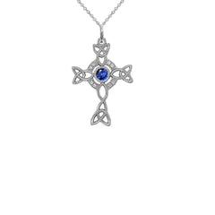 Diamond Irish Celtic Cross with September Birthstone Pendant Necklace in Sterling Silver