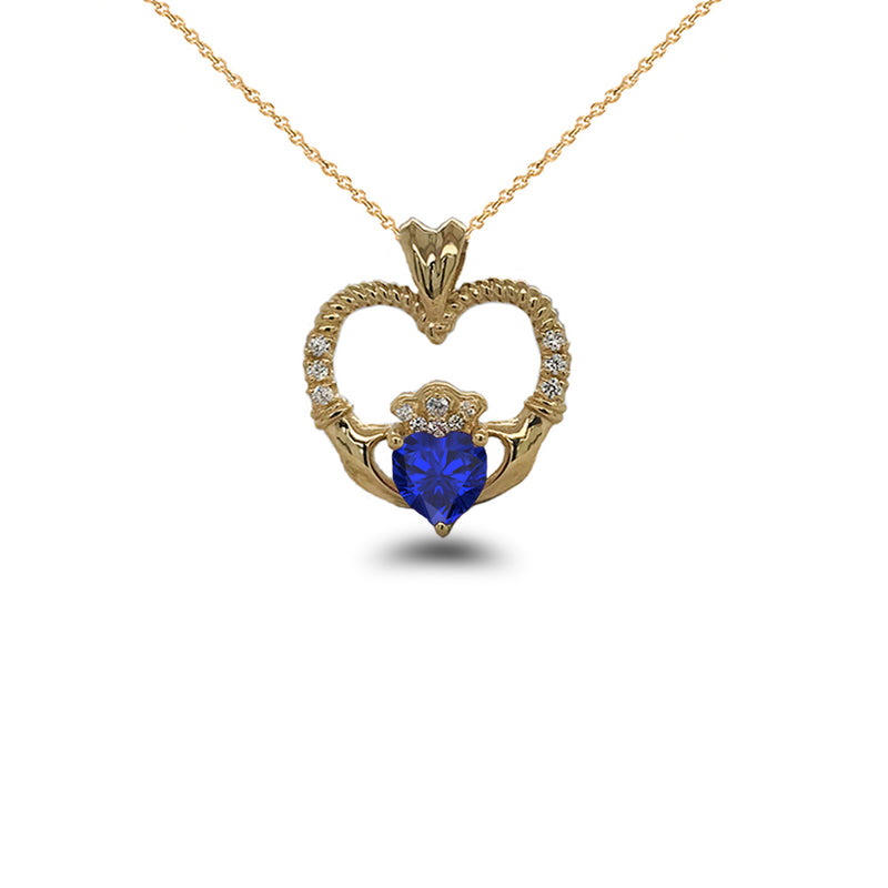 Claddagh Heart Diamond & September Birthstone Blue CZ Rope Pendant/Necklace in Solid Gold