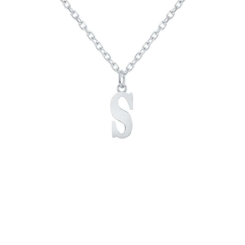 "Customizable Initial ""S"" Pendant Necklace in Sterling Silver"
