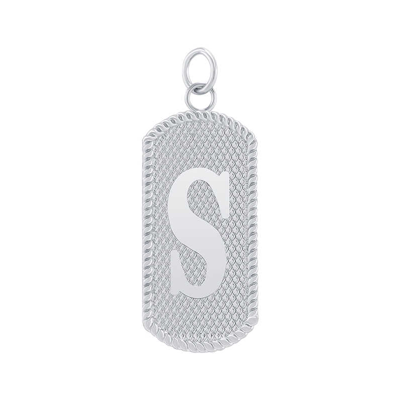"Customizable Dog Tag Initial ""S"" Necklace/Pendant in Sterling Silver"