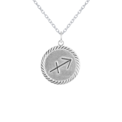 Reversible Sagittarius Zodiac Sign Charm Coin Pendant Necklace in Sterling Silver