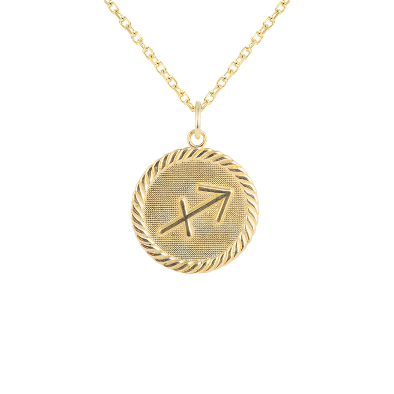 Reversible Sagittarius Zodiac Sign Charm Coin Pendant Necklace in Solid Gold