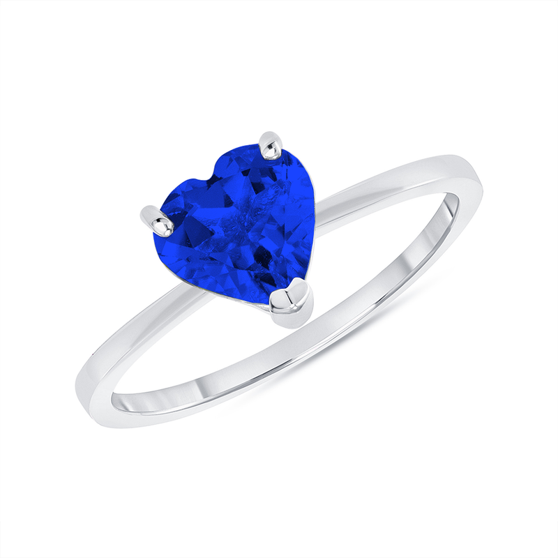 Heart Shape Solitaire Lab Created Sapphire Gemstone Birthstone Ring in White Gold