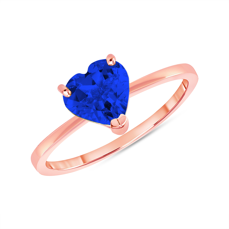 Heart Shape Solitaire Lab Created Sapphire Gemstone Birthstone Ring in Rose Gold