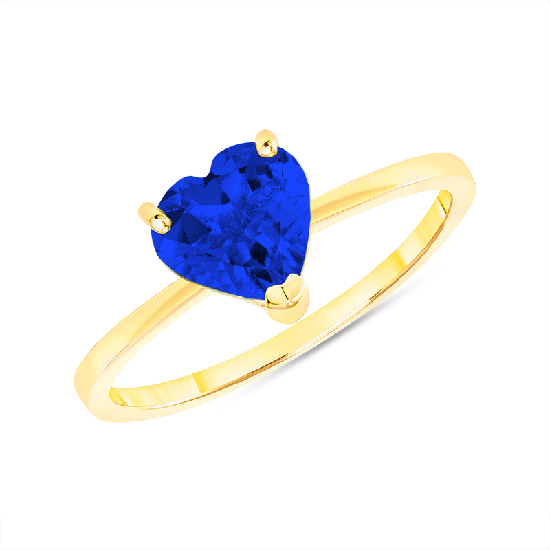 Heart Shape Solitaire Lab Created Sapphire Gemstone Birthstone Ring in Yellow Gold