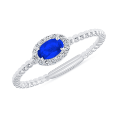 Diamond and Genuine Sapphire Gemstone Birthstone Ring in White Gold