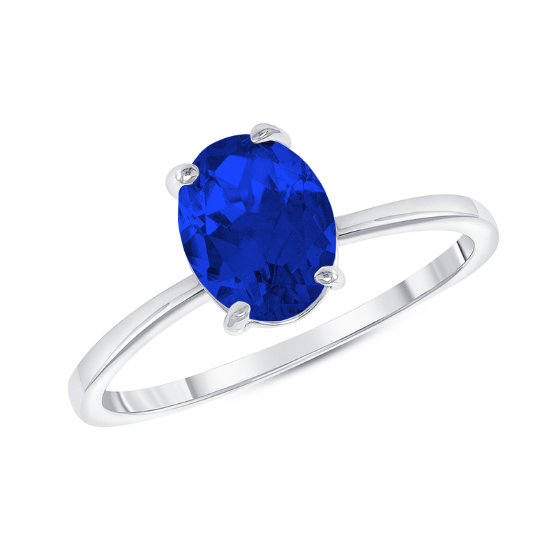 Oval Solitaire Lab Created Sapphire Gemstone Birthstone Ring in Sterling Silver
