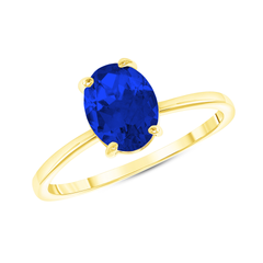 Oval Solitaire Lab Created Sapphire Gemstone Birthstone Ring in Yellow Gold