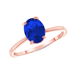 Oval Solitaire Lab Created Sapphire Gemstone Birthstone Ring in Rose Gold